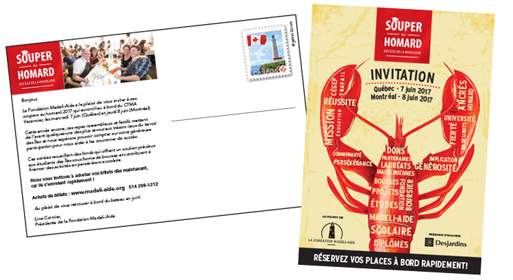 Invitation sous forme de carte postale.